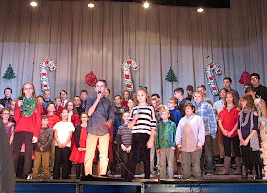 "A WORLD OF CHRISTMAS – Recently, Payne Elementary students in grades 4-6 presented ""A World of Christmas"" to family and friends. Under the direction of their music teacher, Mr. Kaleb O'Donnell, the students sang Christmas songs from around the world."
