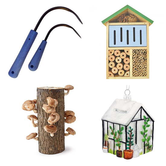 Clockwise from top left: Cobrahead garden tool; pollinator hotel from Rural King; glass greenhouse ornament from Bronner's; shiitake mushroom kit.