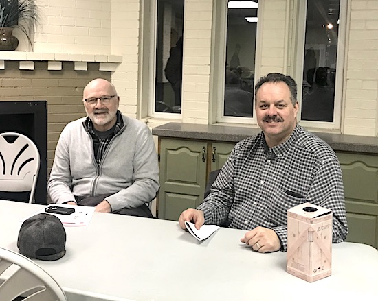 The Community Revitalizing Paulding (CoRP) group met last week to discuss progress on downtown Paulding becoming a historic district. Among those attending were Councilman Tim Boss (left) and businessman Don Foltz. Carrie Onder/Paulding County Progress
