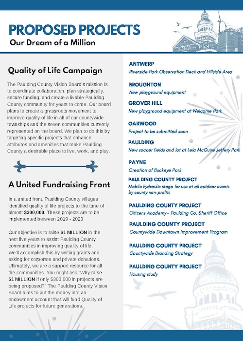 The Vision Board's explanation of the quality of life campaign, proposed projects and fundraising effort.