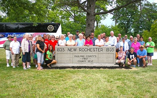 A group photo was taken at New Rochester Park to conclude the six-hour history bus tour on Aug. 17. It was one of several stops in the eastern part of the county. Judy Wells/Paulding County Progress