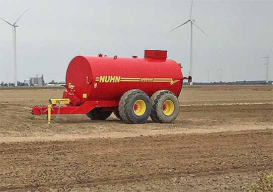 Equipment like this red Nuhn manure tank will be the focus of the third installment of SWCD's Lunch and Learn series on Nov. 19 at the Black Swamp Nature Center, ad-dressing  the rules and regu-lations around fertilizer appli-cation.